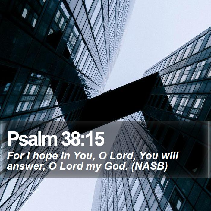 Psalm 38:15 - For I hope in You, O Lord, You will answer, O Lord my God. (NASB)