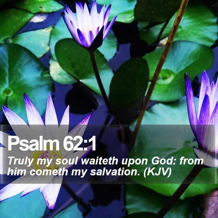 Psalm 62:1 - Truly my soul waiteth upon God: from him cometh my salvation. (KJV)