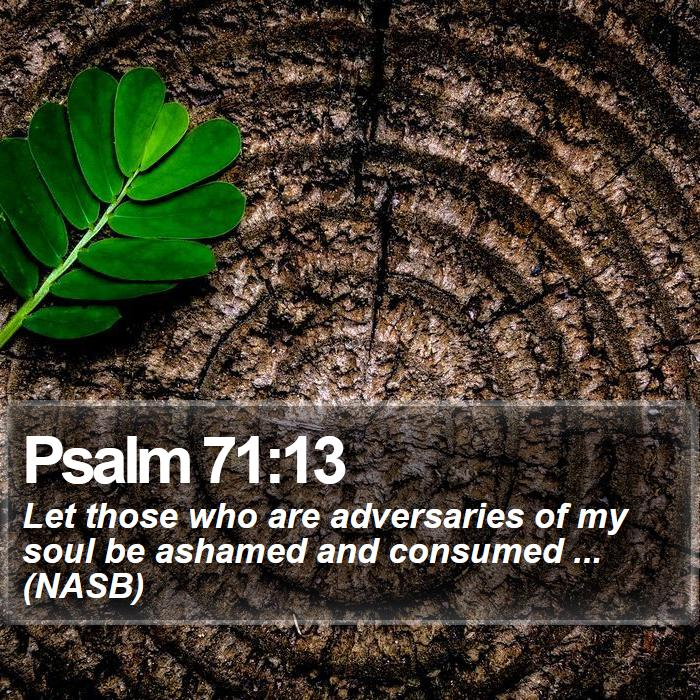 Psalm 71:13 - Let those who are adversaries of my soul be ashamed and consumed ... (NASB)