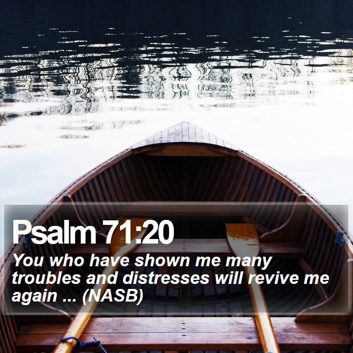 Psalm 71:20 - You who have shown me many troubles and distresses will revive me again ... (NASB)