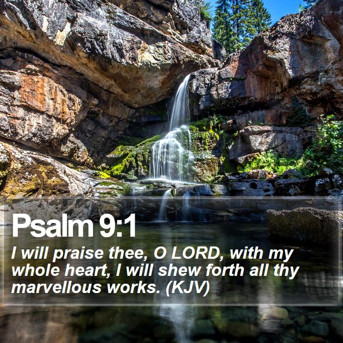 Psalm 9:1 - I will praise thee, O LORD, with my whole heart, I will shew forth all thy marvellous works. (KJV)