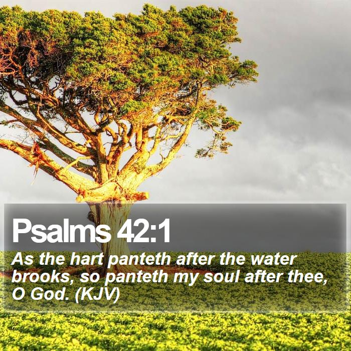 Psalms 42:1 - As the hart panteth after the water brooks, so panteth my soul after thee, O God. (KJV)