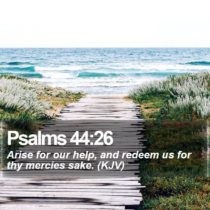 Psalms 44:26 - Arise for our help, and redeem us for thy mercies sake. (KJV)