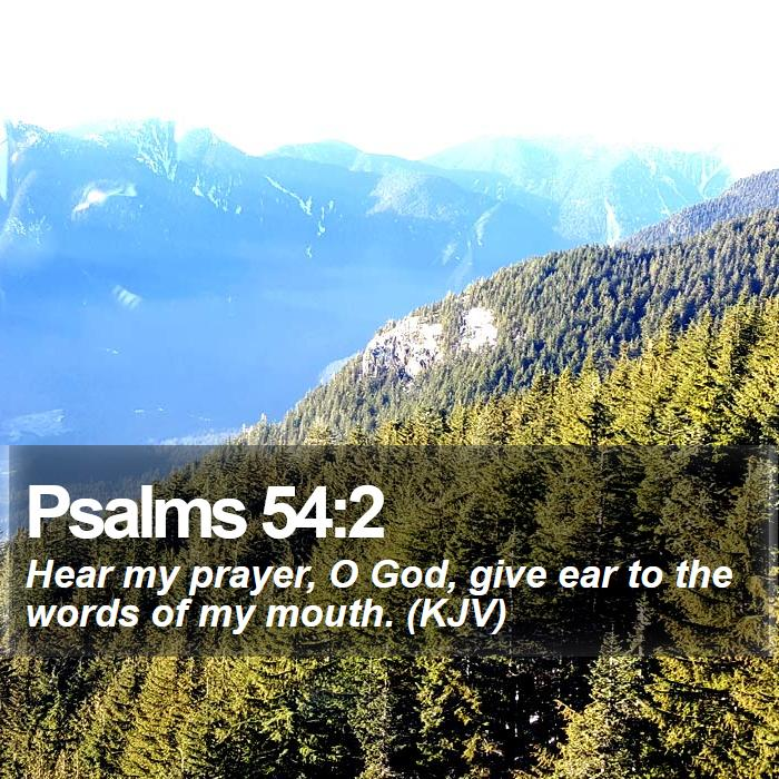 Psalms 54:2 - Hear my prayer, O God, give ear to the words of my mouth. (KJV)