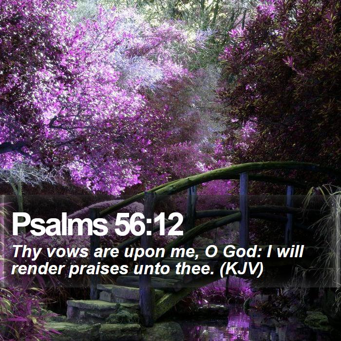 Psalms 56:12 - Thy vows are upon me, O God: I will render praises unto thee. (KJV)