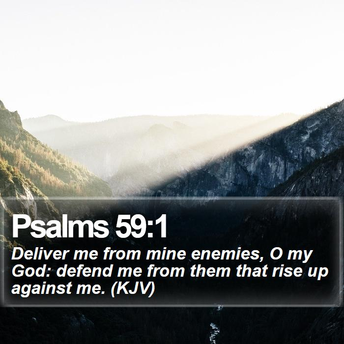 Psalms 59:1 - Deliver me from mine enemies, O my God: defend me from them that rise up against me. (KJV)