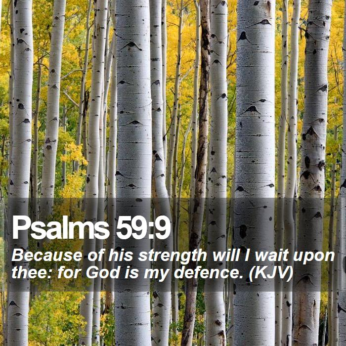 Psalms 59:9 -  Because of his strength will I wait upon thee: for God is my defence. (KJV)