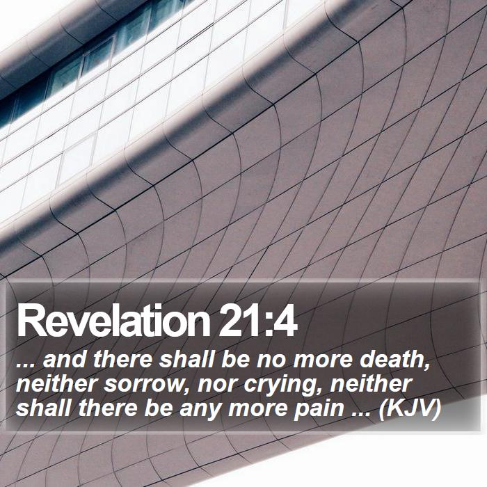 Revelation 21:4 - ... and there shall be no more death, neither sorrow, nor crying, neither shall there be any more pain ... (KJV)