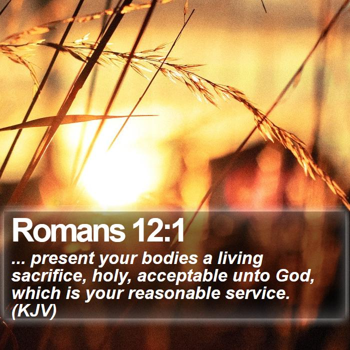 Romans 12:1 - ... present your bodies a living sacrifice, holy, acceptable unto God, which is your reasonable service. (KJV)