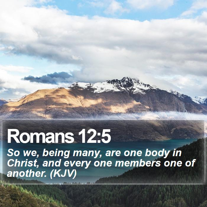 Romans 12:5 - So we, being many, are one body in Christ, and every one members one of another. (KJV)