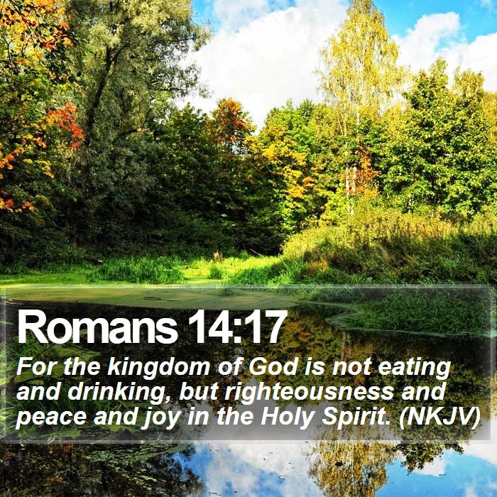 Romans 14:17 - For the kingdom of God is not eating and drinking, but righteousness and peace and joy in the Holy Spirit. (NKJV)